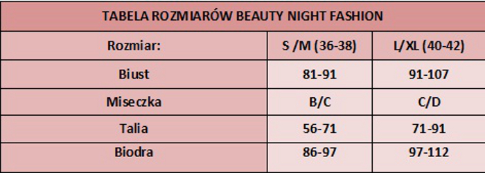 tabela rozmiarów beauty night